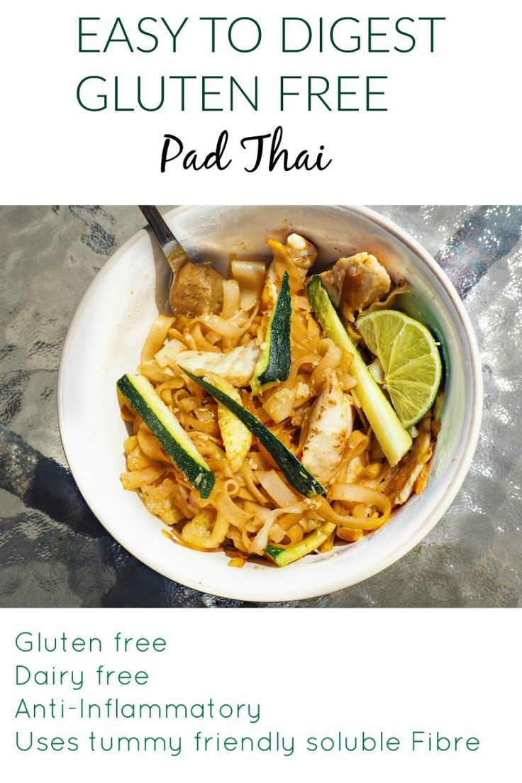 This gluten free pad Thai is a perfect lunch option! It's also much easier to digest than traditional pad Thai as it uses less oil and less insoluble fibre. This is a tummy friendly, gluten free and anti inflammatory recipe!