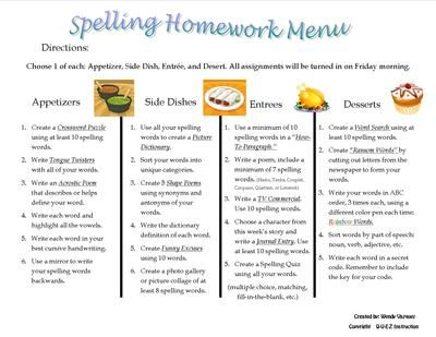 Spelling Homework Menu from Q U E Z Instruction on TeachersNotebook.com -  (1 page)