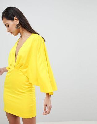56946a4ff0 New ASOS Satin Cape Kimono Sleeve Deep Plunge Mini Dress online ...