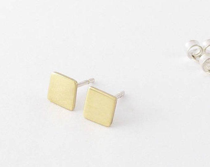 Geometric stud earring-Handmade tiny brass earring-Modern post earring-Minimalist jewelry MINOatelier.etsy.com  (scheduled via http://www.tailwindapp.com?utm_source=pinterest&utm_medium=twpin)