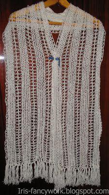 My Fancywork Blog: Белый шарф-палантин связанный на вилке.