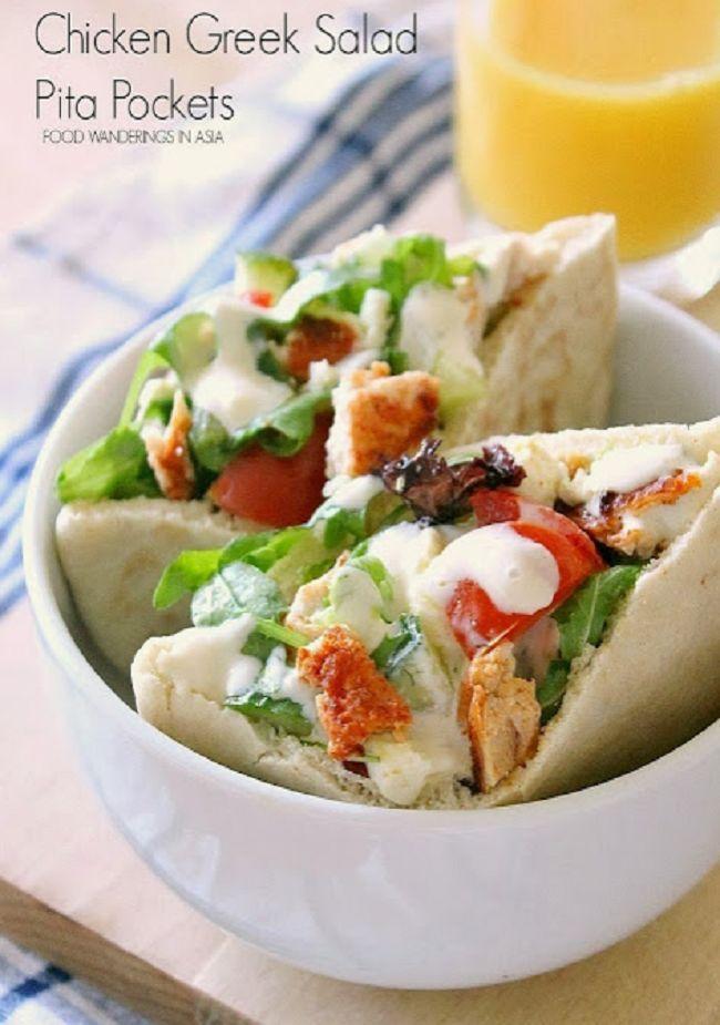 Chicken Greek Salad Pita Pockets