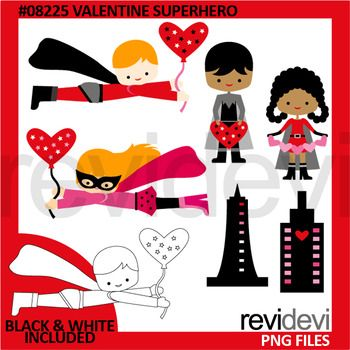 Valentine superhero clip art features multi racial kids in flying and standing poses. Red, pink, black colors scheme.You will get 6 colored graphics and another 6 in black and white outline.Great resource for any school and classroom projects such as for creating bulletin board, printable, worksheet, classroom decor, craft materials, activities and games, and for more educational and fun projects.Format File:- Each clipart saved separately in PNG format, 300 dpi with transparent…