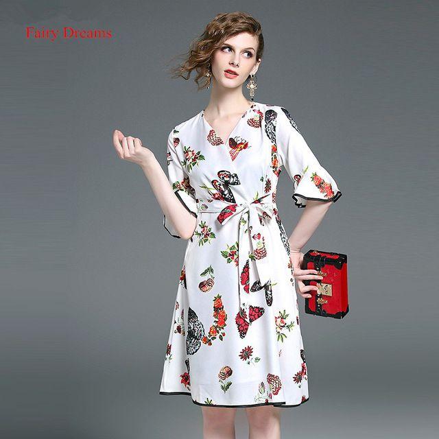 Fairy dreams vendaje dress for women manga flare flor de mariposa de impresión vestidos de verano de estilo blanco 2017 venta caliente marca de ropa