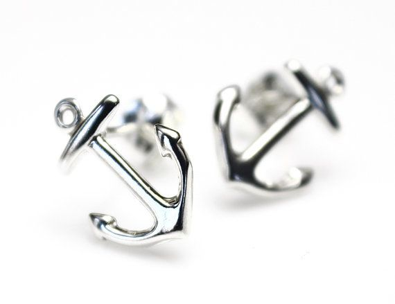 Earrings  Silver Earrings Nautical Anchor Sterling Earrings  Jewelry  bags wholesale Wife  Post Wedding Stud Navy womens