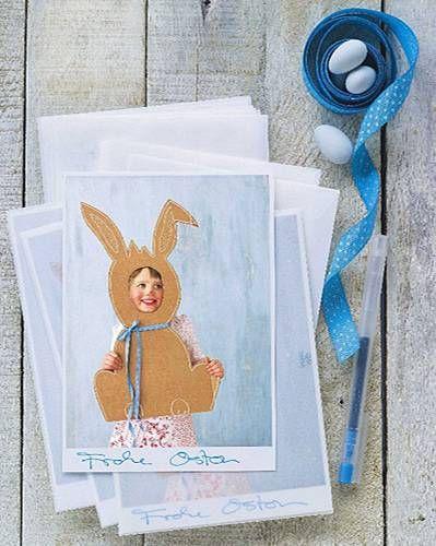 Persönliche Post für Freunde und Verwandte - mit Digicam und Farbdrucker können Sie die schönsten Karten selber machen. Wenn Sie diesen Papphasen zum Durchgucken nachbasteln wollen, pausen Sie ihn auf Pergamentpapier durch, kopieren ihn hoch und übertragen ihn auf Pappe. Die kleine Holly lässt sich allerdings nicht so leicht kopieren, die bleibt ganz gern einmalig
