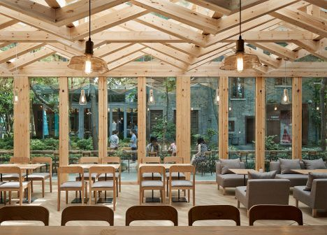 Kooo Architects Adds Wooden Lattice To Cafe Roof Allow Light In Restaurant InteriorsRestaurant DesignWood
