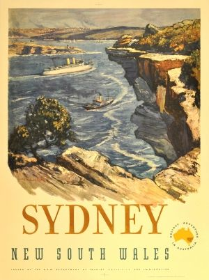Sydney Australia Manly, 1950s - original vintage poster by Julian Richard Ashton listed on AntikBar.co.uk