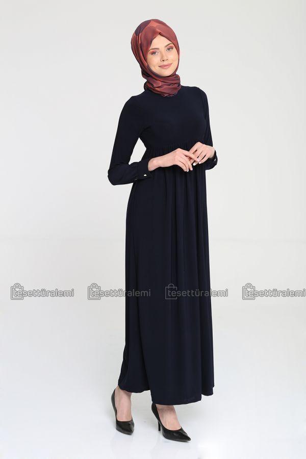 Lacivert büzgülü elbise