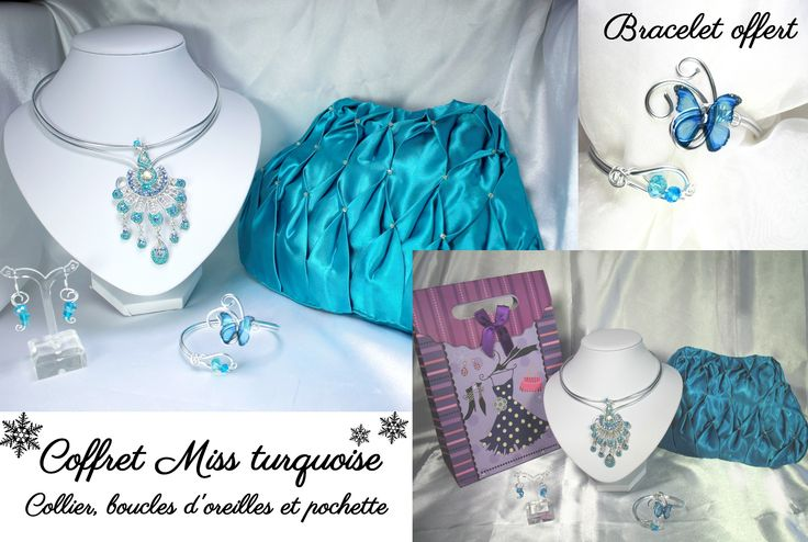 Coffret miss turquoise noël perles cristal