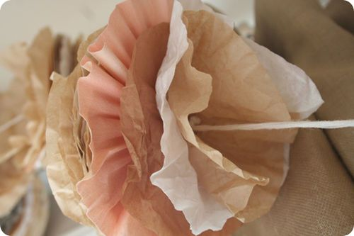 Coffee filter garland - Who would ever no you used coffee filters for this - beautiful