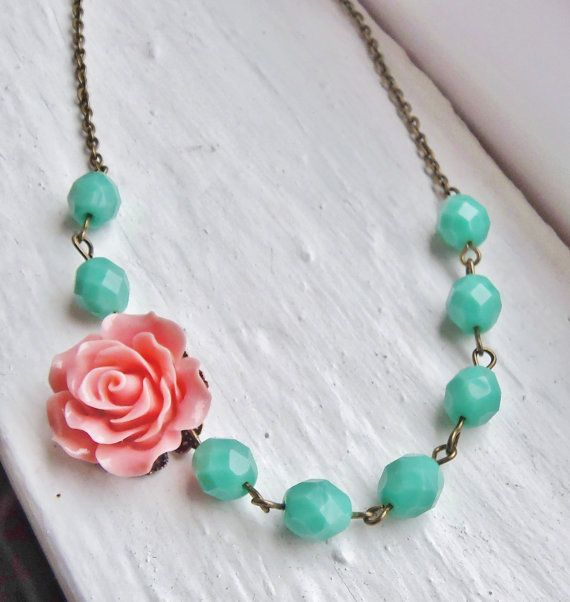 Coral and Mint Necklace Flower Necklace by lakeshorecreations4u, $28.00