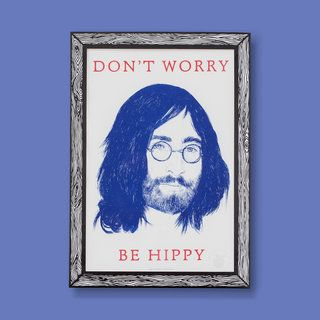 John Lennon Portrait DON'T WORRY BE HIPPY Print A3