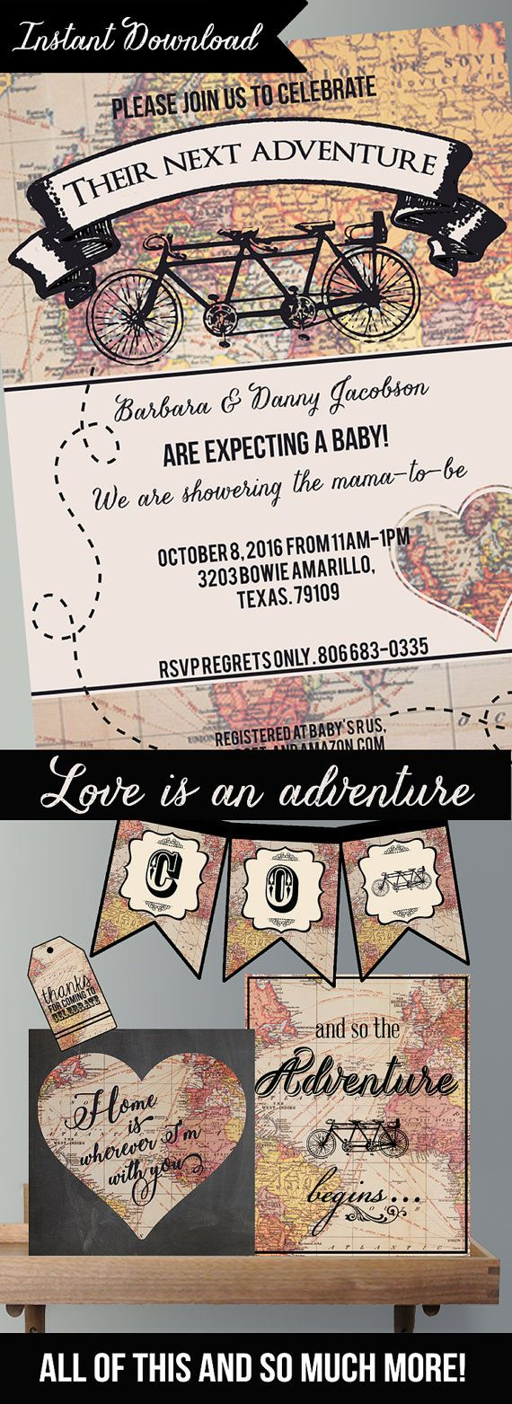 birthday invitatioletter to friends%0A These Vintage Map Baby Shower invitations Collection comes with everything  you u    ll need for your
