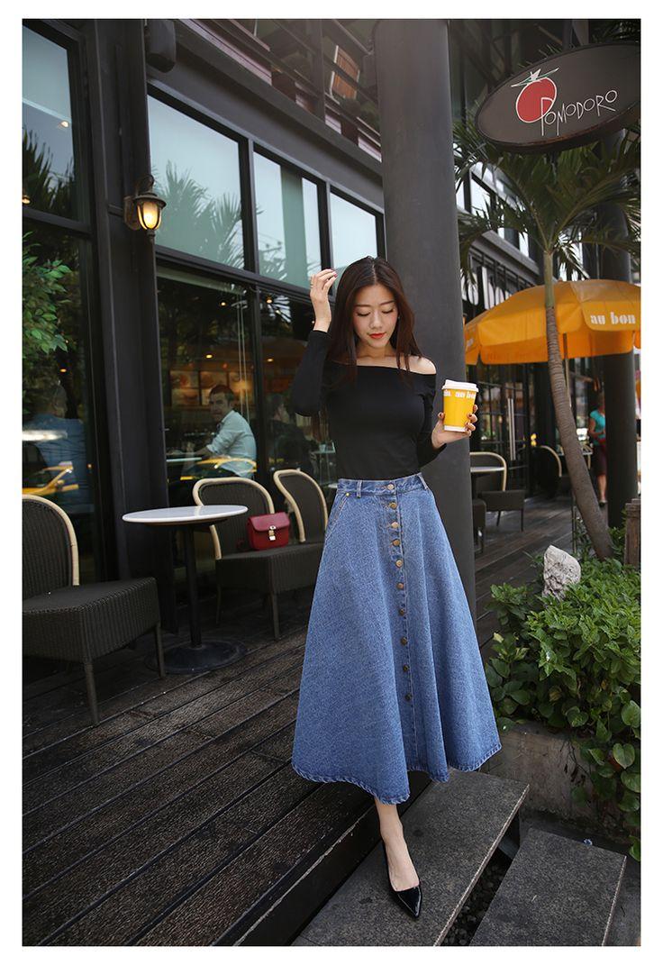 Горячая джинсовые длинная юбка женщины 2015 осень зима новое поступление высокой талией джинсы макси миди юбки Saia лонга Femininas юп шезлонг купить на AliExpress