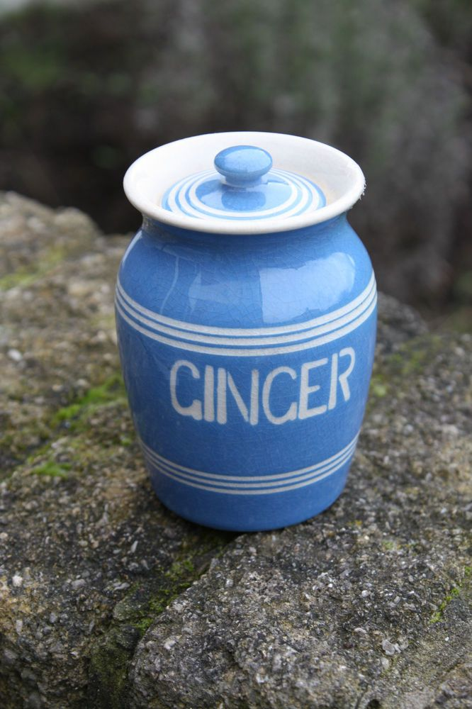 Vintage Bretby Blue Banded Kitchen Storage Jar – Ginger – Great! –