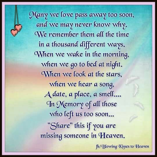 If you are missing someone in Heaven In Memory of