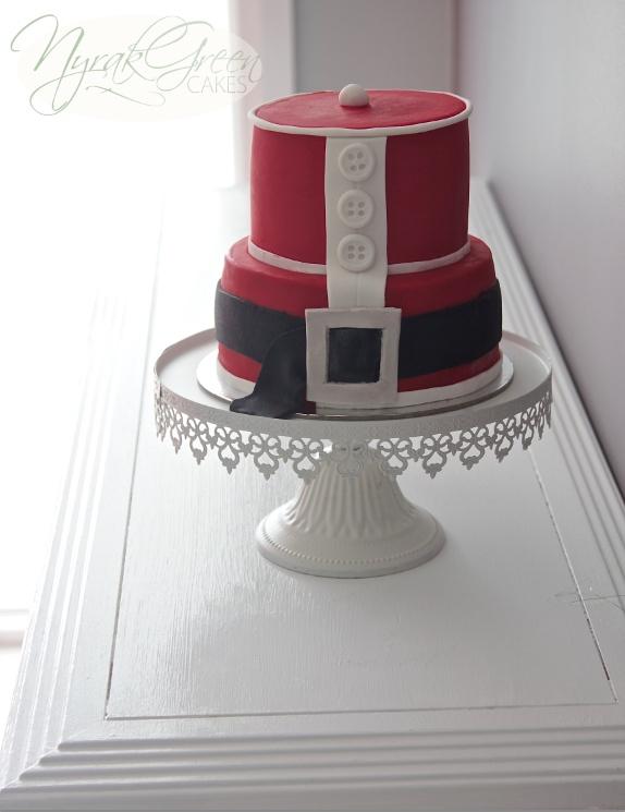 Red and white christmas santa cake