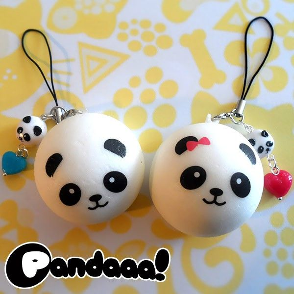 A cute and fluffy charm, perfect to cuddle, hug… and squeeze! These soft friends can make your handbag or smartphone look even more beautiful. And don't forget they're also useful de-stressing toys!  Lovely panda-shaped squishies, perfect for smartphones and bags, with a handmade pendant in polymer clay.  Find it on www.Delicute.com