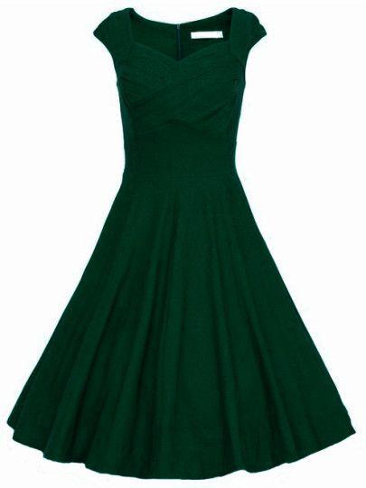 ärmelloses Glockenkleid mit Herz-Kragen-dunkel grün