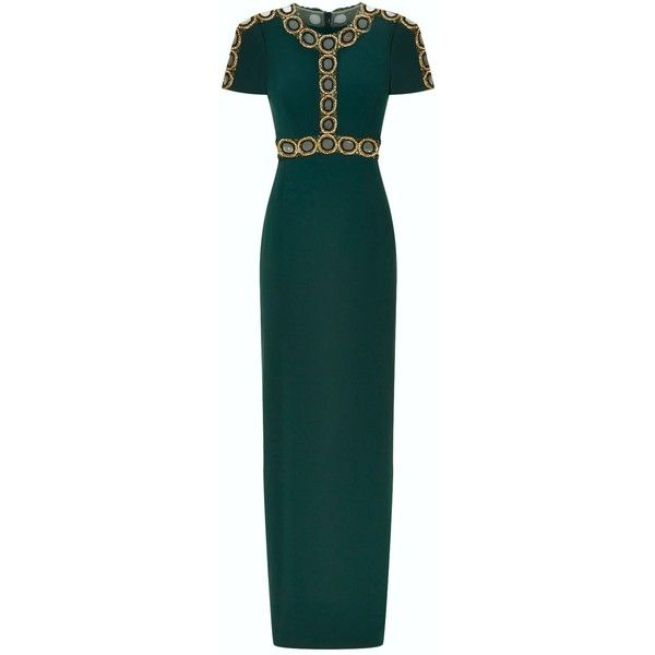 Jenny Packham Mesh Circle Embellished Gown (184.545 RUB) ❤ liked on Polyvore featuring dresses, gowns, cutout dresses, embellished dress, mesh dress, sparkly gowns and green sparkly dress
