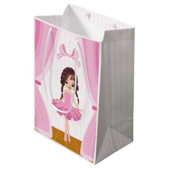 Pink Ballerina theme Birthday Party Guest Thanks Medium Gift Bag