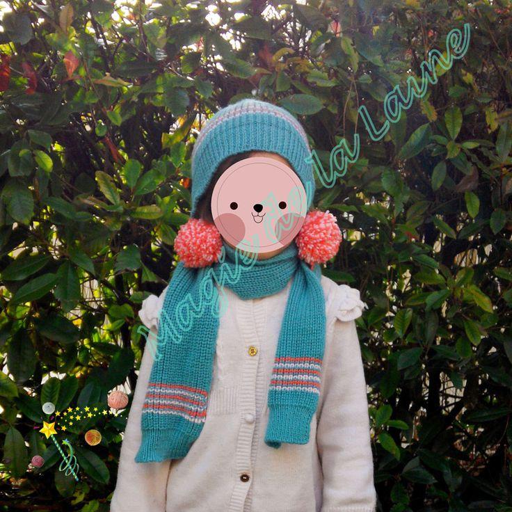 Ensemble bonnet + écharpe demi côtes anglaises pour enfant tricoté avec la laine layette très douce Baby Classic dk de Rico Design. Modèle et kits à tricoter ici:  http://www.magiedelalaine.com/modeles-layette-et-enfant/384-modele-bonnet-echarpe-demi-cotes-anglaises.html
