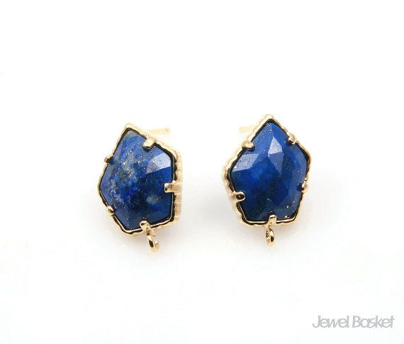 Lapis Lazuli Earrings will be perfect for your hand making accessories. This listing is for two pieces of Lapis Lazuli stone Earrings. They are made with gemstone and frame is made of brass. It is 16k gold plating.  - Shiny Gold Frame (Tarnish Resistant) - Lapis Lazuli Stone  - Brass and Glass / 11.0mm x 15.0mm  - 92.5 Silver Ear post - 2pcs / 1pack