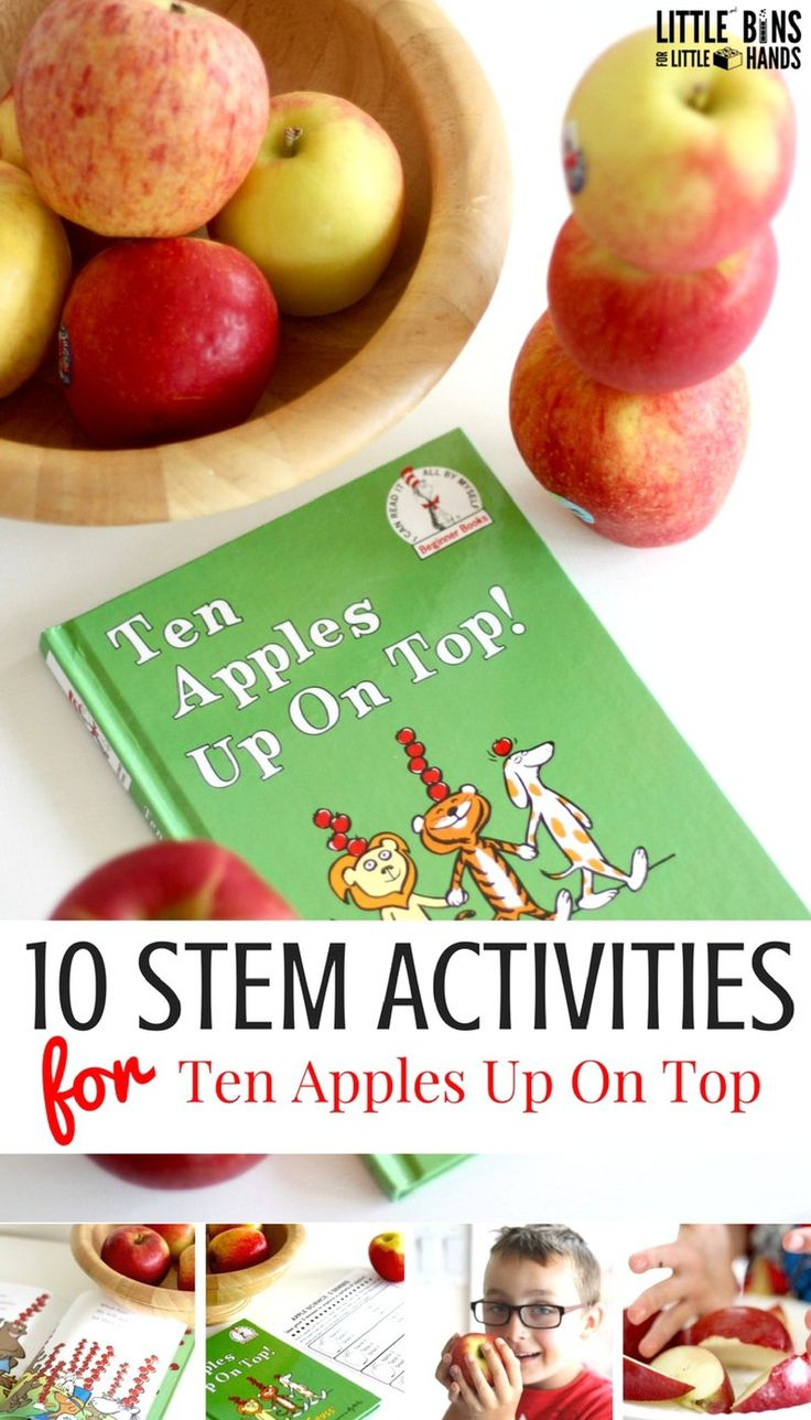 Try these fun really apple STEM activities for fall themed STEM this season. Paired with the book, Ten Apples Up On Top by Dr. Seuss, these fall STEM activities with an apple theme are perfect for the classroom or home use with preschool, kindergarten, and early elementary age kids! Easy apple activities to do with kids this fall. This fall STEM idea includes apple structures, building apple boats, erupting apples, apple stacking, apple science, how an apple grows, and why do apples turn…