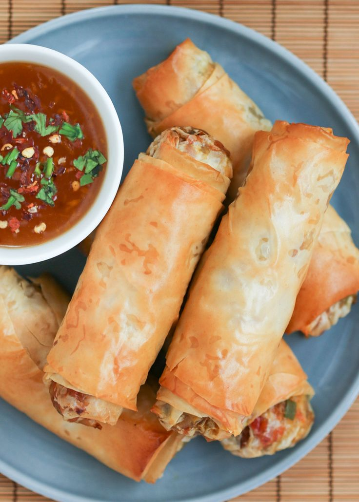 Tips for perfectly crisp baked egg rolls using phyllo - could be a great kids cook dinner addition