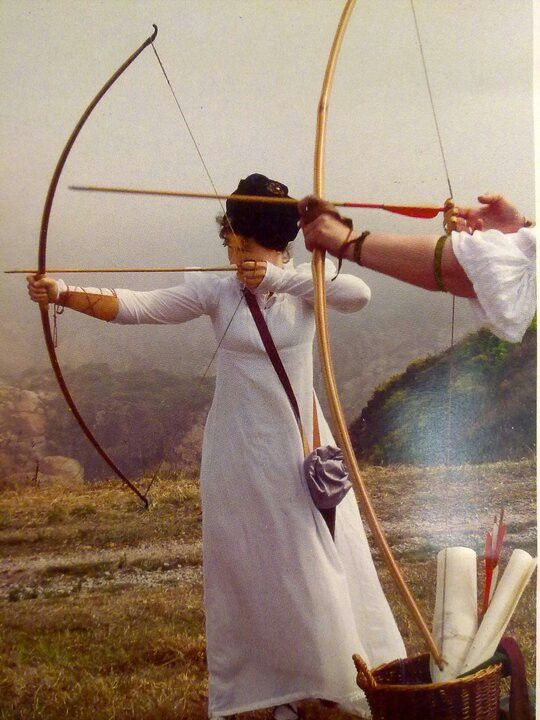 Regency archery. Well, hey, if your gonna practise, may as well do it in a kewl dress...