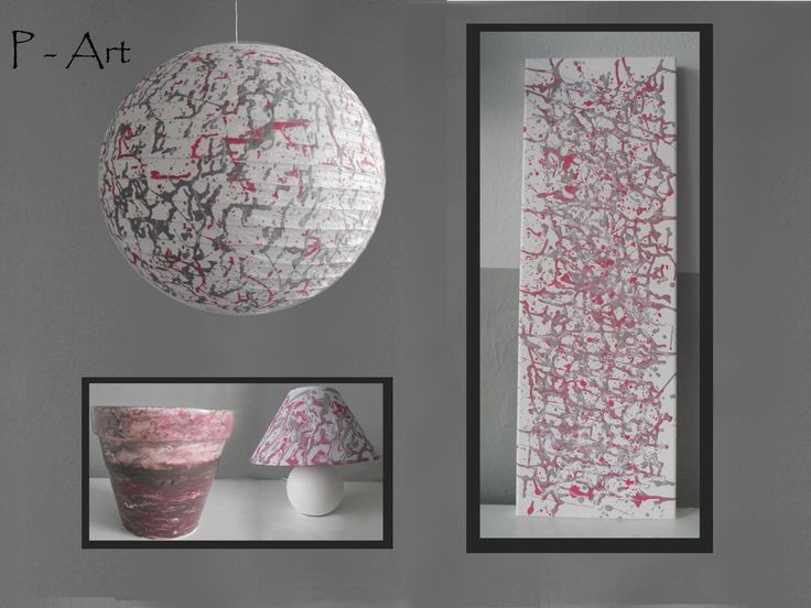 P - ART : LAMPSHADE, PAINTING, LAMP, FLOWER POT - GRAY-PINK ...