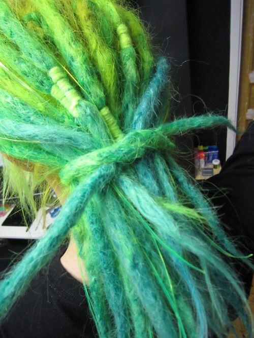 green & blue dreads