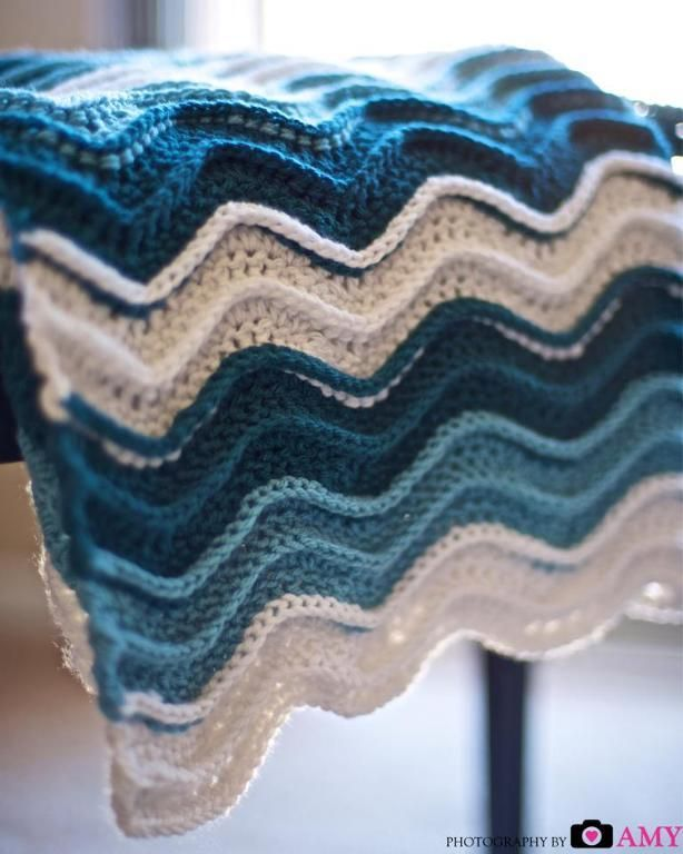 "Allison, look.  Somebody made a blanket just like the one I made for you when you were little.  ""Ocean Waves Blanket by Frayed Knot 