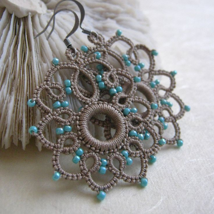 Tatted Lace earrings with light turquoise seed beads by eannie