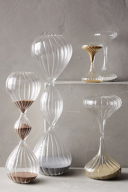 I have a thing for hour glasses - the beautiful way to keep time! #Spa #office essential Shimmering Sand Hourglass - anthropologie.com #anthroregistry