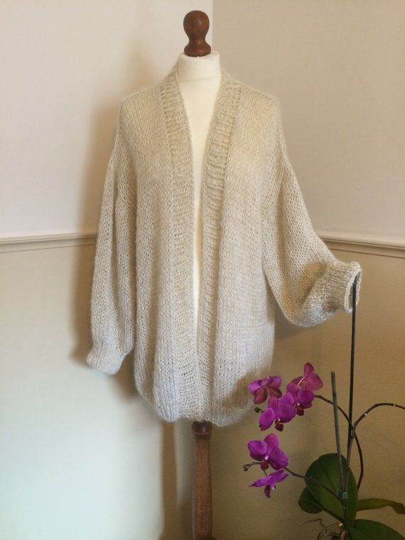 20% off Chunky Knit Cardigan Ivory Knitted by MadebymekaShop