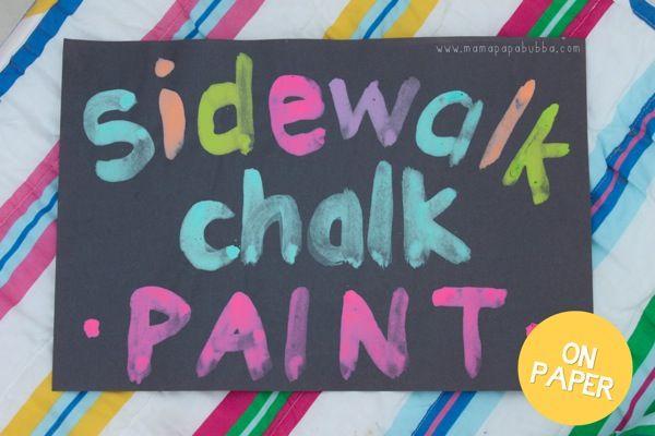 Sidewalk Chalk Paint on Paper   Mama Papa Bubba