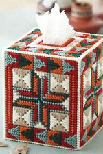 PLASTIC CANVAS ** PATTERN ONLY ** SOUTHWEST STAR AND ARROW TISSUE BOX COVER ~ ~