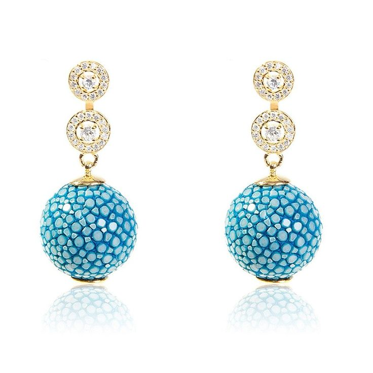 Medusa Collection Stingray Ball Earring With Zircon Design Ocean