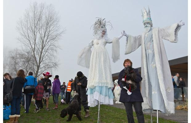 Hundreds of hearty souls started the new year Jan. 1 with a frosty dip in Boundary Bay at the 33rd Annual Polar Bear Swim. The event included entertainment, stilt walkers and activities for the kids.
