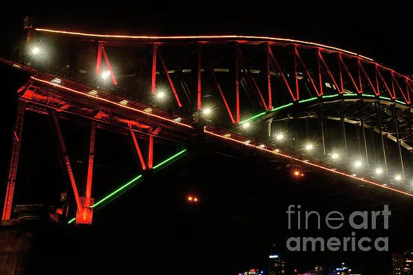 #Harbour_Bridge Green and Red by #Kaye_Menner #Photography Quality Prints Cards Products at: http://kaye-menner.pixels.com/featured/harbor-bridge-green-and-red-by-kaye-menner-kaye-menner.html