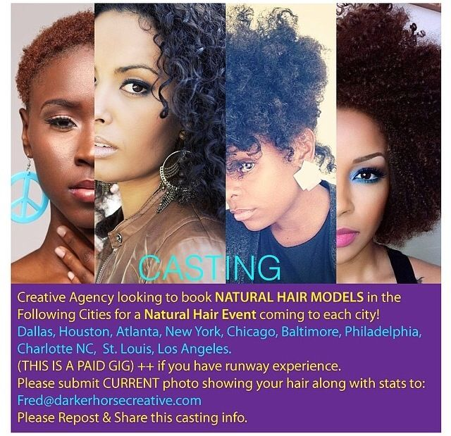 PAID GIG! Natural hair models wanted for Dallas, Houston, Atlanta, New York, Chicago, Baltimore, Philadelphia, Charlotte, St. Louis and Los Angeles. Email Fred@darkerhorsecreative.com a current photo showcasing your hair. #LustersProducts #ModelCasting #TeamNatural_ #NaturalHairDoesCare #NaturalHairDaily #Curlbox #NaturalHair