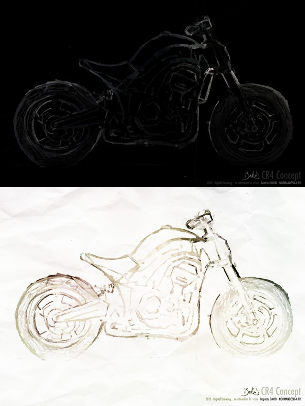 I have seen many Café Racer bikes here in Sydney and i am a pretty big fan of that style. But I was wondering…  Why only Mono or Twin Cyl engine on an old bike shape?? Why not a 4Cyl Engine??  This is, after the TOTO-A Blueprint a simple Digital painting of the CR4 Concept, an imaginary Naked bike with a 4Cyl 1000cc engine… real version… SOON!. ;)
