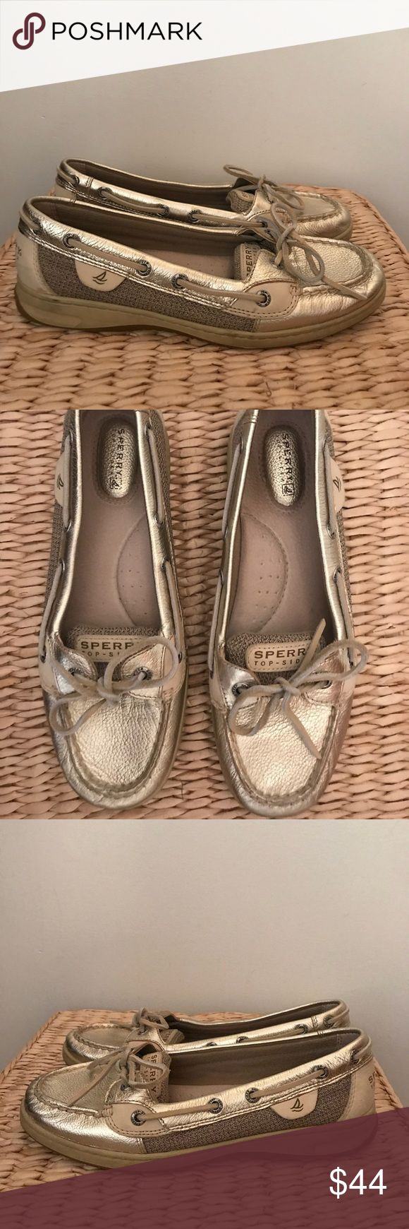 Women's Size 8.5 Gold Sperry Angelfish Boat Shoe In good condition, have only been worn a handful of times. The inside of the shoes look dark but the shoes are in pretty good shape! Sperry Shoes Flats & Loafers