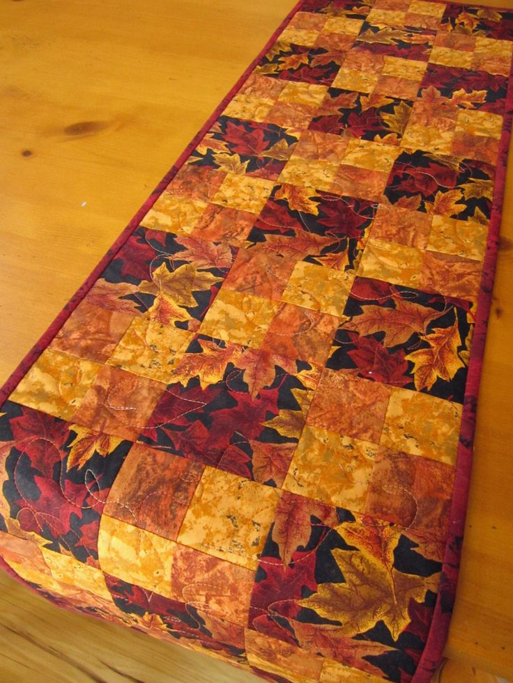Fall Quilted Table Runners | Fall Table Runner Handmade Quilted Leaves