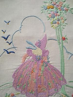 Stunning Crinoline Lady ~ Gardens ~ Vintage Raised Hand Embroidered Panel/Mat