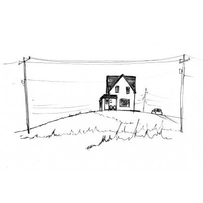 Les Îles 1 || Manon Paquet || Magdalen Islands || Quebec || Ink on paper || Outdoor sketch