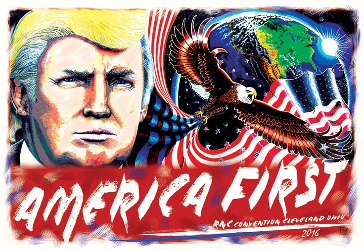 #DonaldTrump #Trumpart #Trumpposter #UnafraidAndUnashamed #JulianRaven #Cleveland #RNC #Convention #FreePoster #AmericaFirst #Patriotism #America #Trumppainting