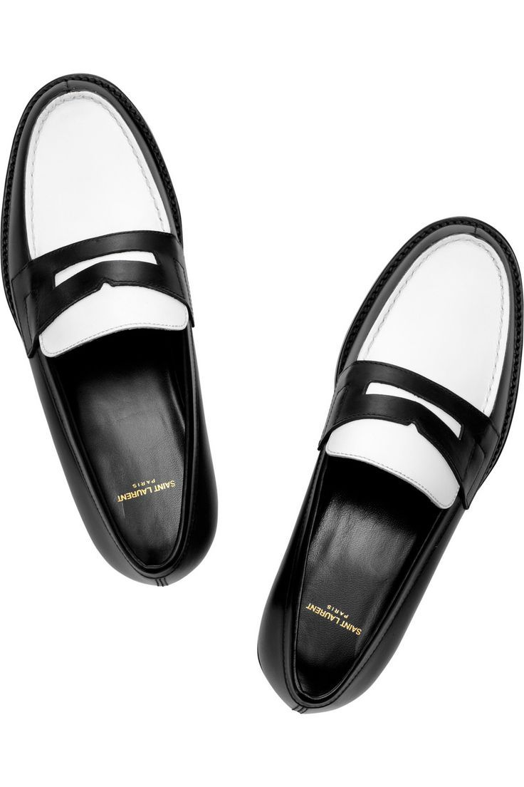 0cd6bef33de55 Tendance Chaussures 2017/ 2018 : Saint Laurent | Two-tone leather penny  loafers